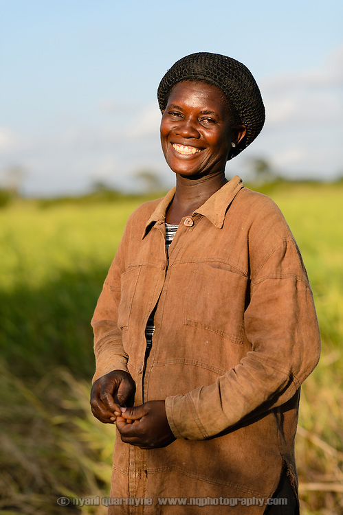 Through her participation in a 'Banking on Change' Village Savings and Loan Association (VSLA), Florence Ameza, a rice farmer in Tordzinu in the Volta Region of Ghana, was able to expand her rice farm from one to two acres.