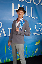 Repro Free: 08/08/2013 Brendan Spratt from Dublin winner of the 'Best Dressed Man' at the Blossom Hill Ladies' Day at the Discover Ireland Dublin Horse Show. Picture Andres Poveda