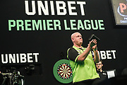 Michael van Gerwen during the PDC Premier League Darts at Arena Birmingham, Birmingham, United Kingdom on 25 April 2019.