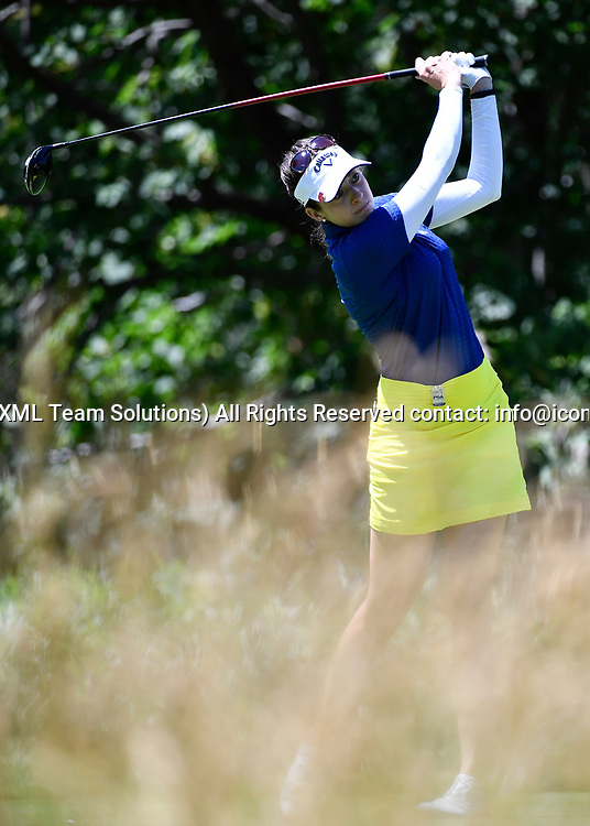 OLYMPIA FIELDS, IL - JULY 01: Kim Kaufman plays the ball from the fifth tee during the third round of the 2017 KMPG PGA Championship at Olympia Fields on July 1, 2017 in Olympia Fields, Illinois. (Photo by Quinn Harris/Icon Sportswire)