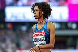 London, August 12 2017 . Vashti Cunningham, USA, the women's high jump final on day nine of the IAAF London 2017 world Championships at the London Stadium. © Paul Davey.