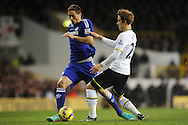 Nemanja Matic of Chelsea does battle with Christian Eriksen of Tottenham Hotspur during the Barclays Premier League match between Tottenham Hotspur and Chelsea  at White Hart Lane, London<br /> Picture by Richard Blaxall/Focus Images Ltd +44 7853 364624<br /> 01/01/2015