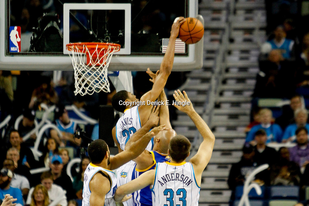 Jan 19, 2013; New Orleans, LA, USA; New Orleans Hornets power forward Anthony Davis (23) blocks a shot by Golden State Warriors small forward Richard Jefferson (44) during  the first quarter of a game at the New Orleans Arena. Mandatory Credit: Derick E. Hingle-USA TODAY Sports