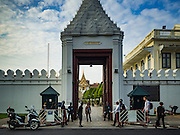 14 OCTOBER 2016 - BANGKOK, THAILAND: The entrance to the Grand Palace in Bangkok on Friday, the first day of mourning for the late Bhumibol Adulyadej, the King of Thailand. The King died Oct. 13, 2016. He was 88. His death comes after a period of failing health. With the king's death, the world's longest-reigning monarch is Queen Elizabeth II, who ascended to the British throne in 1952. Bhumibol Adulyadej, was born in Cambridge, MA, on 5 December 1927. He was the ninth monarch of Thailand from the Chakri Dynasty and is known as Rama IX. He became King on June 9, 1946 and served as King of Thailand for 70 years, 126 days. He was, at the time of his death, the world's longest-serving head of state and the longest-reigning monarch in Thai history.     PHOTO BY JACK KURTZ