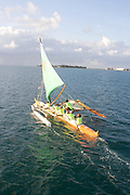 Outrigger sailing canoe, Kaneohe Bay, Oahu, Hawaii