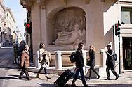 Roma 10 Marzo 2015<br /> Restaurato il complesso monumentale  delle Quattro Fontane<br /> Il Tevere, l'Arno, Giunone e Diana tornano a zampillare dopo nove mesi di lavori finanziati dalla maison Fendi  per un costo totale di 320.000 euro. La fontana Aniene<br /> Rome March 10, 2015<br /> Restored the monument of Quattro Fontane<br /> The Tiber, the Arno, Juno and Diana return to gush after nine months of work funded by the fashion house Fendi for a total cost of 320,000 Euros. The fountain The River Aniene
