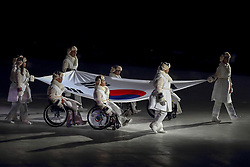 March 9, 2018 - Pyeongchang, GANGWON, SOUTH KOREA - March 09, 2018-Pyeongchang, South Korea-South Kkorean Athletes hold national flag with marching ath the stadium during the opening ceremony of the PyeongChang 2018 Paralympic Games at the PyeongChang Olympic Stadium in Pyeongchang, South Korea. (Credit Image: © Gmc via ZUMA Wire)