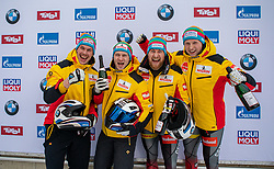 19.01.2020, Olympia Eiskanal, Innsbruck, AUT, BMW IBSF Weltcup Bob und Skeleton, Igls, Bob Viersitzer, Herren, Siegerehrung, im Bild Sieger Pilot Friedrich Francesco mit Margis Thorsten, Schueller Alexander, Bauer Candy (GER) // Winner Pilot Friedrich Francesco with Margis Thorsten Schueller Alexander Bauer Candy of Germany during the winner ceremony for the four-man Bobsleigh competition of BMW IBSF World Cup at the Olympia Eiskanal in Innsbruck, Austria on 2020/01/19. EXPA Pictures © 2020, PhotoCredit: EXPA/ Peter Rinderer