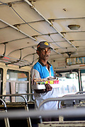 Ambulant food seller on bus, Galle, Sri Lanka