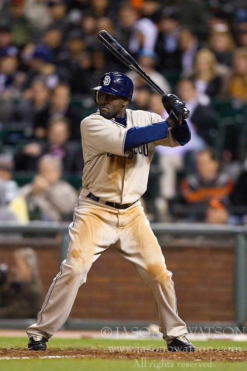 May 11, 2010; San Francisco, CA, USA;  San Diego Padres center fielder Tony Gwynn (18) at bat against the San Francisco Giants during the ninth inning at AT&T Park.  San Diego defeated San Francisco 3-2.