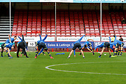 Carlisle United players warm up before kick off during the EFL Sky Bet League 2 match between Crawley Town and Carlisle United at the Checkatrade.com Stadium, Crawley, England on 30 September 2017. Photo by Andy Walter.
