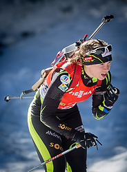 BESCOND Anais of France competes during Women 12.5 km Mass Start competition of the e.on IBU Biathlon World Cup on Sunday, March 9, 2014 in Pokljuka, Slovenia. Photo by Vid Ponikvar / Sportida