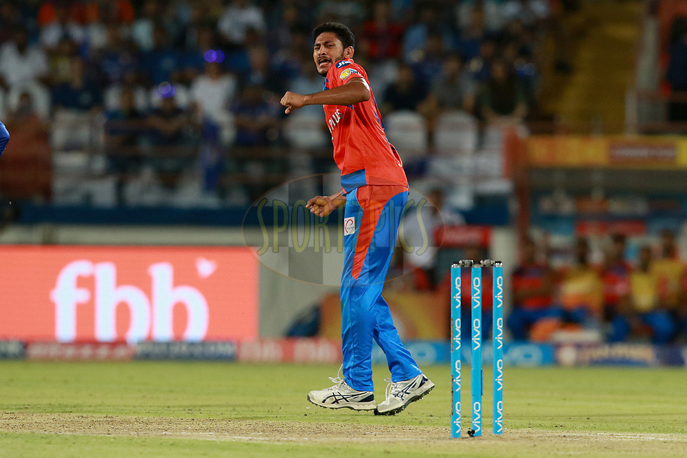 Basil Thampi of GL celebrates after takes a wicket of Harbhajan Singh  of MI during match 35 of the Vivo 2017 Indian Premier League between the Gujarat Lions and the Mumbai Indians  held at the Saurashtra Cricket Association Stadium in Rajkot, India on the 29th April 2017<br /> <br /> Photo by Rahul Gulati - Sportzpics - IPL