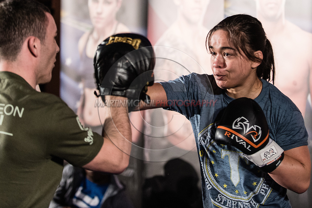 """MANCHESTER, ENGLAND, NOVEMBER 23, 2013: Rosi Sexton is pictured at the media open work-out sessions for """"UFC Fight Night 30: Machida vs. Munoz"""" inside Bierkeller Shooter's Sports Bar in The Printworks, Manchester (Martin McNeil for ESPN)"""