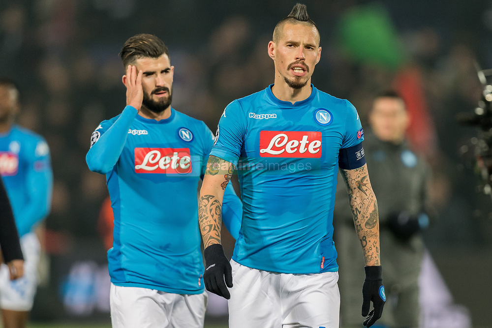 (L-R) Elseid Hysaj of SSC Napoli, Marek Hamsik of SSC Napoli during the UEFA Champions League group F match between Feyenoord Rotterdam and SSC Napoli at the Kuip on December 06, 2017 in Rotterdam, The Netherlands