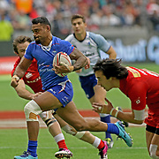 David Afamasaga was the dominant second half force as he scored his second try in Manu Samoa's 21-15 victory over Canada at the Canada 7's, Day 2, BC Place, Vancouver, British Columbia, Canada.  Photo by Barry Markowitz, 3/11/18, 3pm