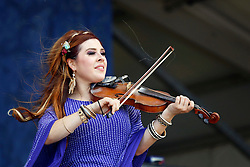 24 April 2016. New Orleans, Louisiana.<br /> The New Orleans Jazz and Heritage Festival. <br /> Amanda Shaw plays the Gentilly Syage.<br /> Photo; Charlie Varley/varleypix.com