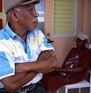 Alfred Edward White (76) and Catherine Irish (79) from the south of the island but have been moved to the new northern community of Lookout. Thousands were evacuated from their homes in the south of the island after it was abandoned after the 1995 and 1997 eruption of the Soufriere Hills volcano. The southern area which contained most of the farm land is still out of bounds to everyone except scientists..Photo©Steve Forrest/Workers Photos