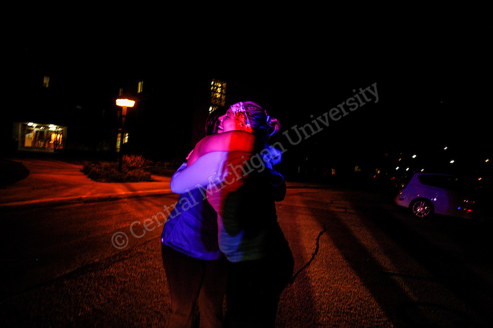 The Blue Light Run participants ran around Central Michigan University to raise awareness on the locations of the Blue Light Emergency Phones located around campus. Over $700 in funds were raised for the campus organization Sexual Aggression Peer Advocates or SAPA.