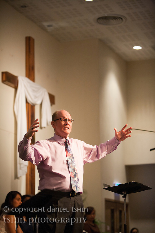 Pastor David King teaching the Word at the Evangelical Church of Bangkok (ECB) during the Easter service on 24 April 2011 in Bangkok, Thailand