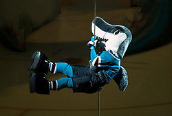 April 16, 2010; San Jose, CA, USA; The San Jose Sharks mascot performs before game two against the Colorado Avalanche in the first round of the 2010 Stanley Cup Playoffs at HP Pavilion.  San Jose defeated Colorado 6-5. Mandatory Credit: Jason O. Watson / US PRESSWIRE