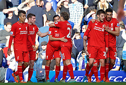 LONDON, ENGLAND - Saturday, October 31, 2015: Liverpool's Philippe Coutinho Correia celebrates scoring the first equalising goal against Chelsea with team-mate Lucas Leiva during the Premier League match at Stamford Bridge. (Pic by Lexie Lin/Propaganda)