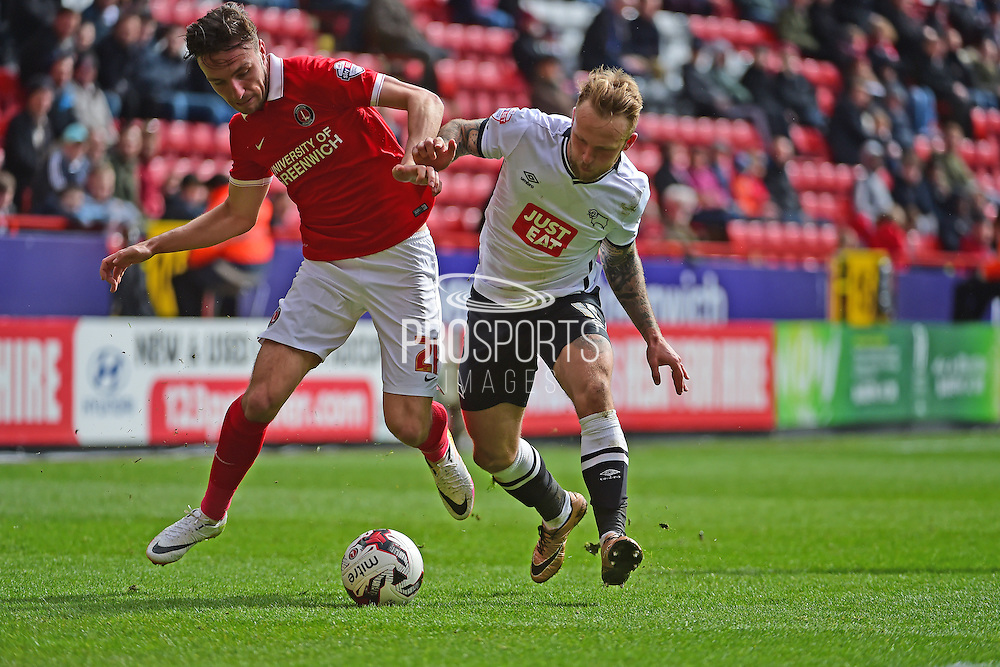 Derby County Callum Harriott battles Charlton Athletic Morgan Fox during the Sky Bet Championship match between Charlton Athletic and Derby County at The Valley, London, England on 16 April 2016. Photo by Jon Bromley.