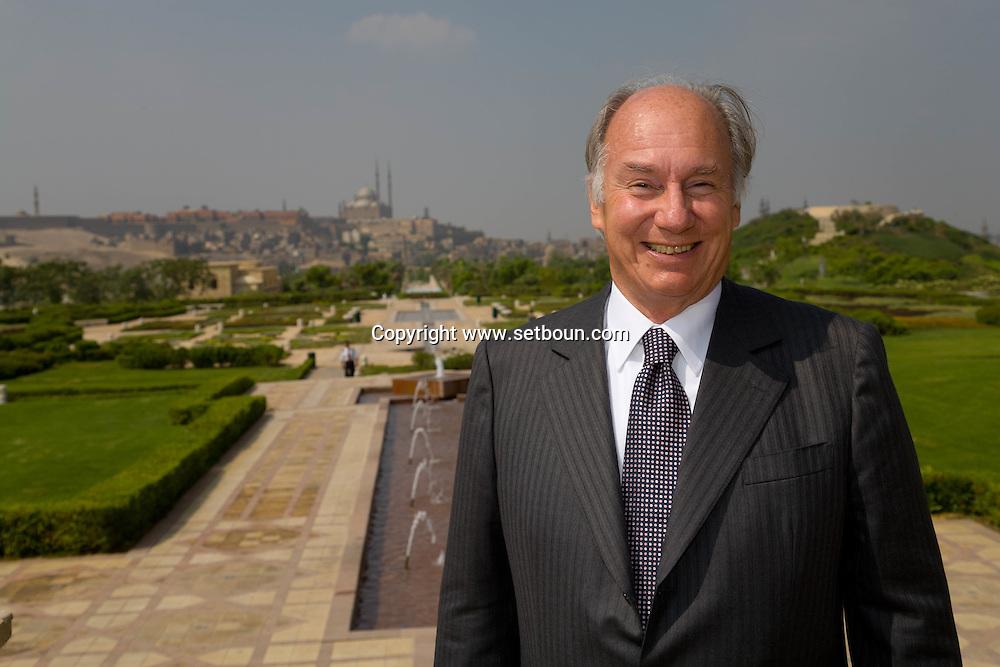 Egypt. Cairo : Al Azhar Park. The prince Karim Aga Khan visit Cairo project of Aga Khan foundation. the citadel in the background  Cairo  Egypt  +