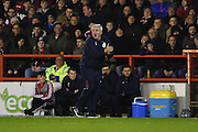 Aston Villa manager Steve Bruce shouts to his players during the EFL Sky Bet Championship match between Nottingham Forest and Aston Villa at the City Ground, Nottingham, England on 4 February 2017. Photo by Jon Hobley.