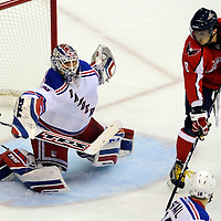 28 April 2009: New York Rangers goalie Henrik Lundqvist (30) makes a save on  a shot by Washington Capitals left wing Alex Ovechkin (8) in the 1st period in the seventh game of the Eastern Conference NHL quarterfinal playoff game at the Verizon Center in Washington, D.C.  The Washington Capitals defeated the New York Rangers 2-1 in the Eastern Conference NHL quaterfinal playoff to advance to the second round of the playoffs.