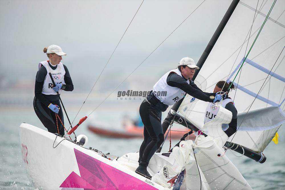 2012 Olympic Games London / Weymouth<br /> Matchrace day 3 round robin<br /> Match RaceRUSSkudina Ekaterina, Oblova Elena, Syuzeva Elena