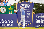 Rory McIlroy (NIR) tees off on the 1st hole during the final round of the Aberdeen Standard Investments Scottish Open at The Renaissance Club, North Berwick, Scotland on 14 July 2019.