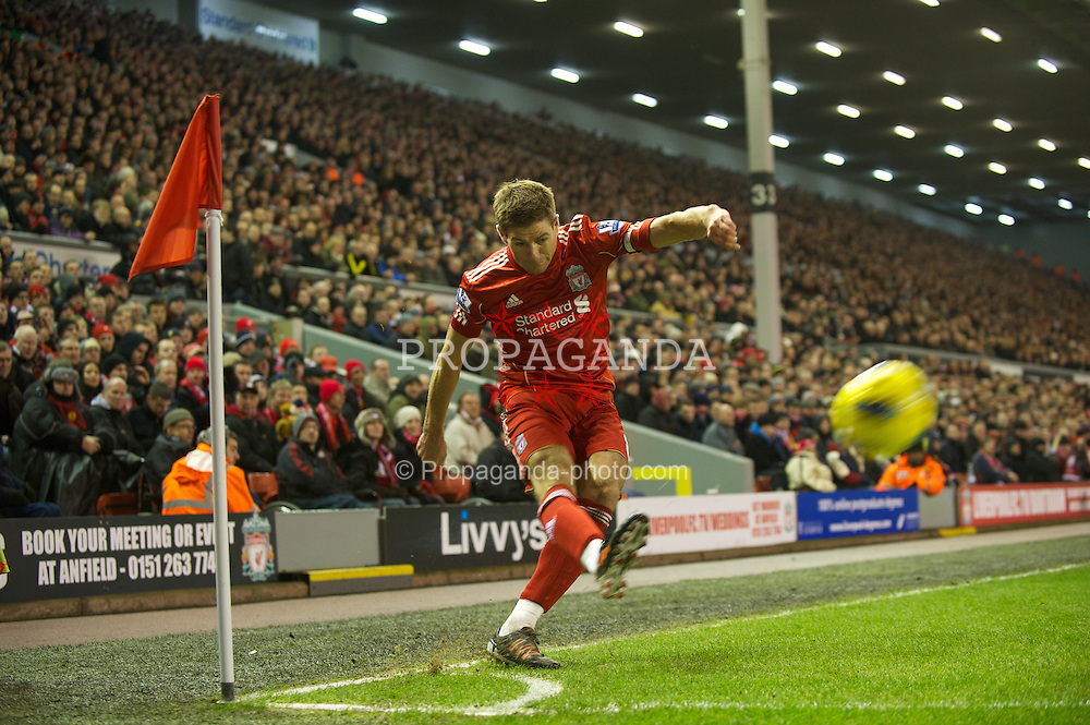 LIVERPOOL, ENGLAND - Monday, February 6, 2012: Liverpool's captain Steven Gerrard takes a corner-kick against Tottenham Hotspur during the Premiership match at Anfield. (Pic by David Rawcliffe/Propaganda)