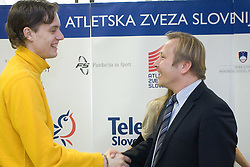 Rozle Prezelj and Peter Kukovica when Slovenian athletes and their coaches sign contracts with Athletic federation of Slovenia for year 2009,  in AZS, Ljubljana, Slovenia, on March 2, 2009. (Photo by Vid Ponikvar / Sportida)