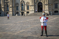 LIMA, PERU - CIRCA APRIL 2014: Guards in the Government Palace of Peru, in the Lima Historic Centre.