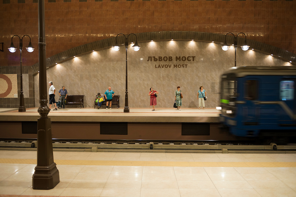 Commuters wait as a train pulls into Lavov most metro station in Sofia, Bulgaria. The station was put into operation on August 31, 2012.