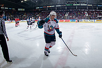 KELOWNA, CANADA - MARCH 3: Leif Mattson #28 of the Kelowna Rockets skates to the bench to celebrate a first period goal against the Portland Winterhawks  on March 3, 2019 at Prospera Place in Kelowna, British Columbia, Canada.  (Photo by Marissa Baecker/Shoot the Breeze)