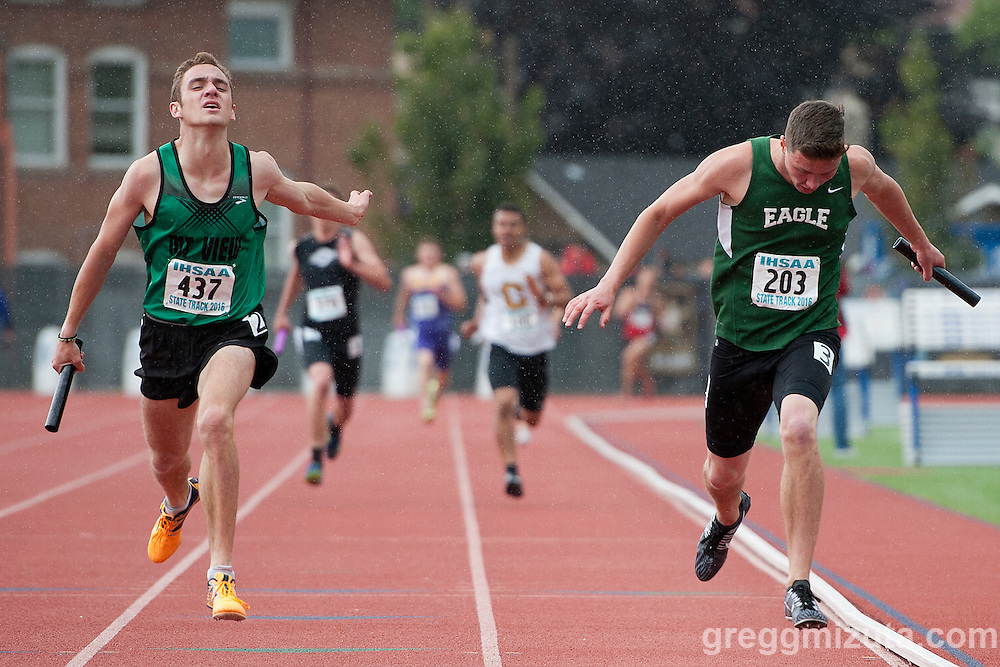 The final event of the Idaho High School Track & Field State Championships was  boys 5A 4x400 It was a photo finish with Mountain View senior Noah Horsburgh out leaning Eagle senior John Varner for a 3:21.16 to 3:21.17 win at Dona Larson Park, Boise, Idaho. May 21, 2016.