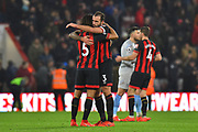 Nathan Ake (5) of AFC Bournemouth hugs Steve Cook (3) of AFC Bournemouth at full time after a 2-0 win over West Ham United during the Premier League match between Bournemouth and West Ham United at the Vitality Stadium, Bournemouth, England on 19 January 2019.