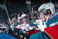 KELOWNA, CANADA - FEBRUARY 2: Colton Sissons #15 of the Kelowna Rockets sits on the bench opposite the Vancouver Giants at the Kelowna Rockets on February 2, 2013 at Prospera Place in Kelowna, British Columbia, Canada (Photo by Marissa Baecker/Shoot the Breeze) *** Local Caption ***