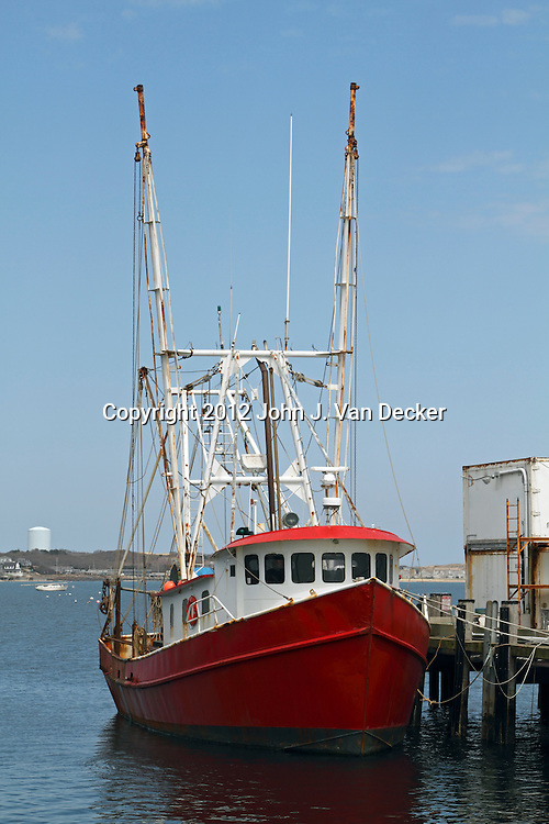 Commercial fishing trawler moored in Provincetown, Cape Cod, Massachusetts.