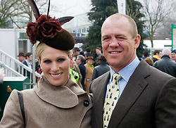 CHELTENHAM, ENGLAND-14-MAR-2012: The Cheltenham Racing Festival in Gloucestershire , day 2.<br /> Zara Phillips arrives with husband Mike Tindall.