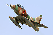 Israeli Air Force (IAF) Mcdonnell-Douglas A-4 Skyhawk (Ayit) fighter jet in flight