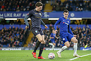 Sheffield Wednesday midfielder Adam Reach (20) battles with Chelsea Defender Marcos Alonso during the The FA Cup fourth round match between Chelsea and Sheffield Wednesday at Stamford Bridge, London, England on 27 January 2019.