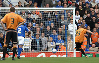 Photo: Ashley Pickering.<br /> Ipswich Town v Wolverhamptopn Wanderers. Coca Cola Championship. 27/10/2007.<br /> Freddy Eastwood of Wolves (R) takes a penalty which is saved by Neil Alexander