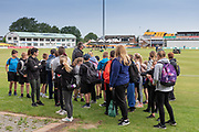 Young Fans arrive for Day 3 of the Specsavers County Champ Div 2 match between Leicestershire County Cricket Club and Durham County Cricket Club at the Fischer County Ground, Grace Road, Leicester, United Kingdom on 9 July 2019.