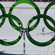 Winter Olympics, Vancouver, 2010.Ben Sim of Australia practices in view of the Olympics Rings at Whistler Olympic Park Cross Country Skiing Stadium and course in preparation for the event at the Winter Olympics. 9th February 2010. Photo Tim Clayton