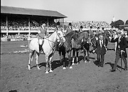 Dublin Horse Show (Aga Khan Cup).1986..08.08.1986..08.08.1986..8th August 1986..The annual Aga Khan Cup competition was held in the R.D.S. Dublin.Four countries competed for the cup this year.FDR Germany,The USA,Great Britain and Ireland. Great Britain were the eventual winners..Image of the teams as the line up for the presentation of the Aga Khan Cup. The Great Britain team is led by Peter Charles aboard the Grey,April Sun.