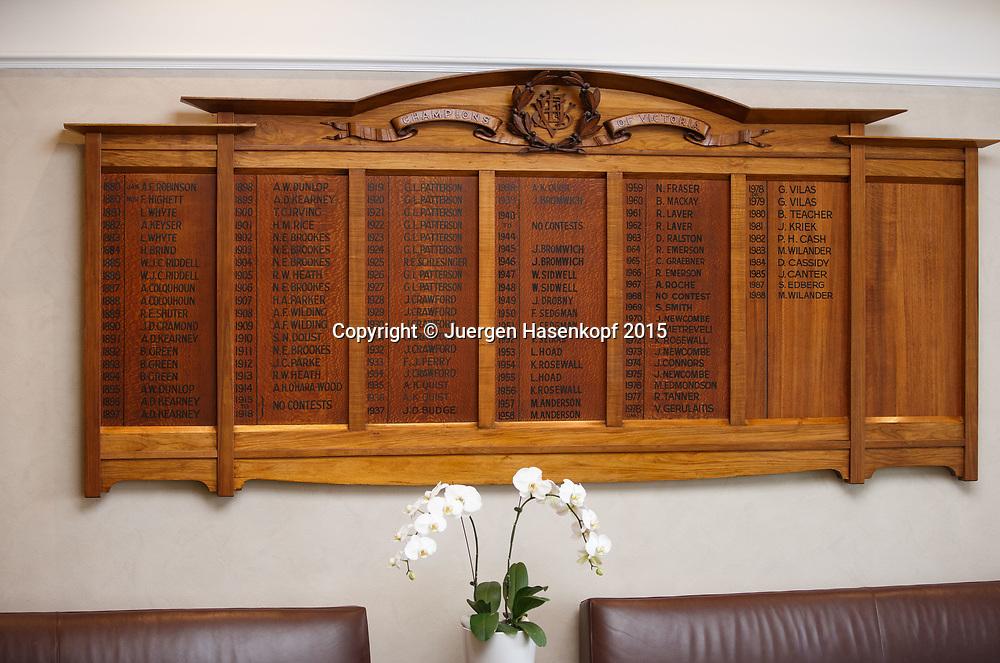 Kooyong Lawn Tennis Club existiert seit 1892 in Kooyong<br /> <br /> tennis - Kooyong Lawn Tennis Club  -  -  Kooyong Lawn Tennis Club  - Melbourne - VIC - Australia  - 25 January 2015. <br /> &copy; Juergen Hasenkopf