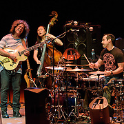 BETHESDA, MD - January 25th, 2017 - Guitarist Pat Metheny (left) performs with bassist bassist Linda O and drummer Antonio Sanchez at the Music Center at Strathmore in Bethesda, MD. (Photo by Kyle Gustafson / For The Washington Post)